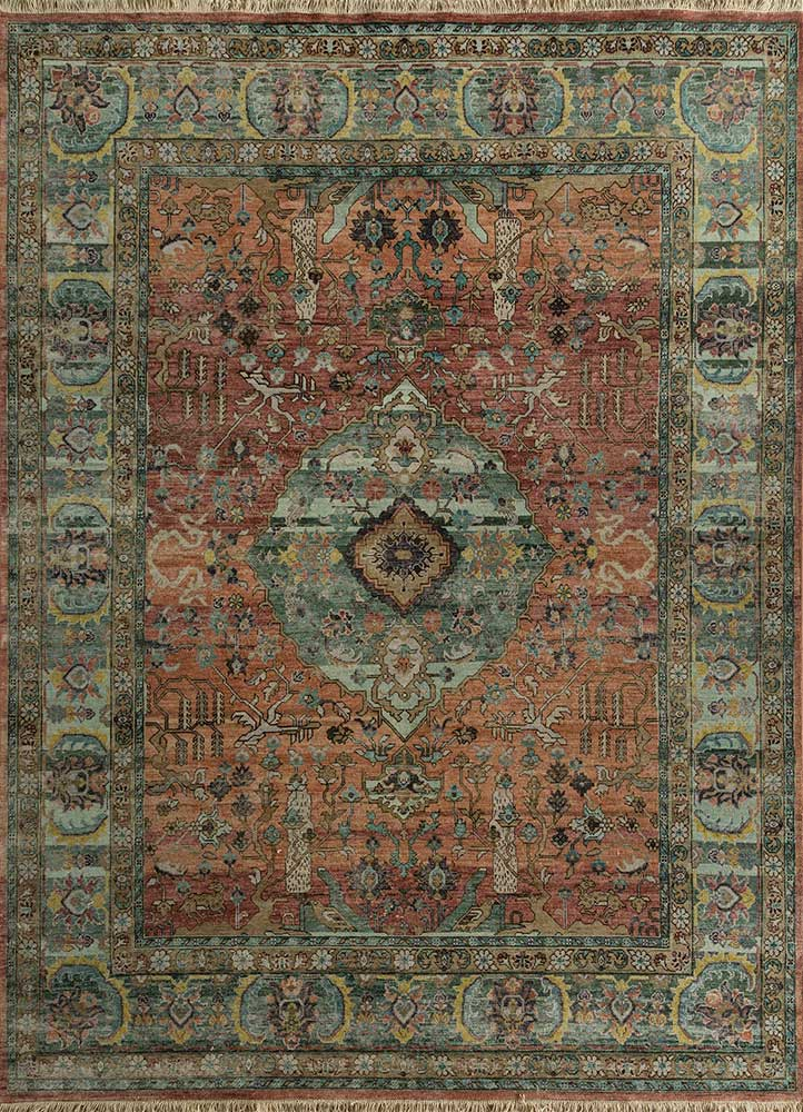 EA-3006(CS-01) Light Coral/Smoke Blue red and orange wool hand knotted Rug