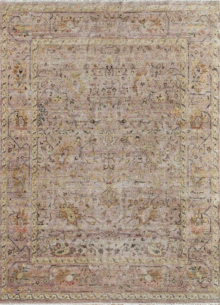 someplace in time red and orange wool hand knotted Rug - HeadShot