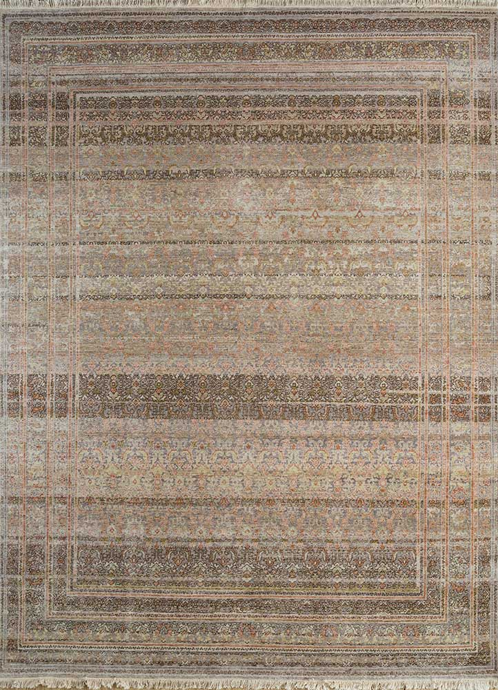 EA-3060(CS-01) Medium Taupe/Clay blue wool hand knotted Rug