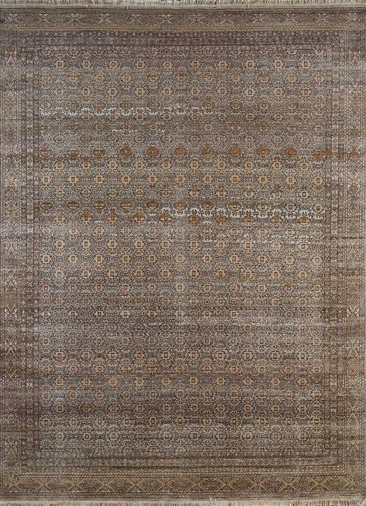 someplace in time beige and brown wool hand knotted Rug - HeadShot