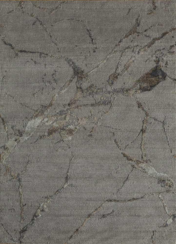 ELA-302 Ashwood/Gray Brown grey and black wool and silk hand knotted Rug