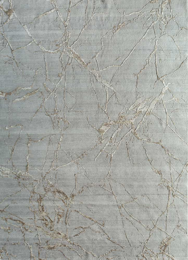 ELA-302 Soft Gray/Medium Brown grey and black wool and silk hand knotted Rug
