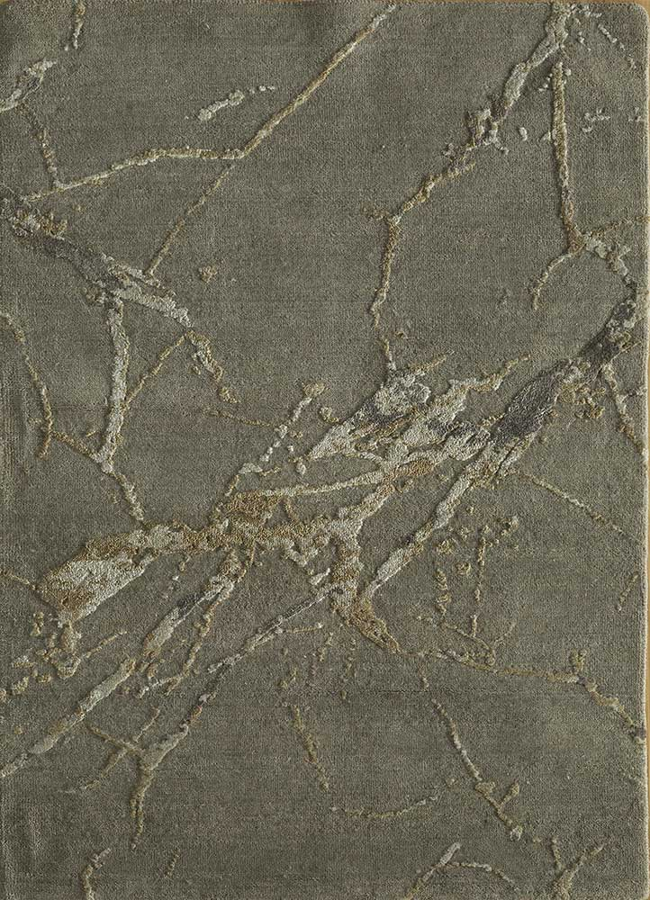 ELA-302 Ashwood/BlueBell grey and black wool and silk hand knotted Rug