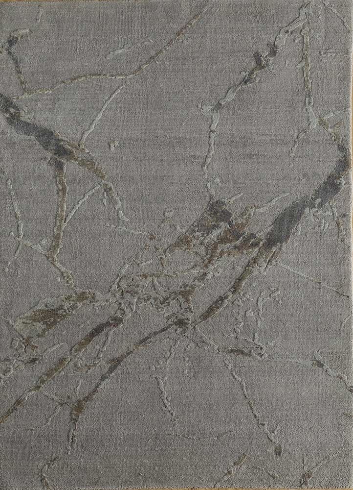 ELA-302 Ashwood/Warm Spice grey and black wool and silk hand knotted Rug