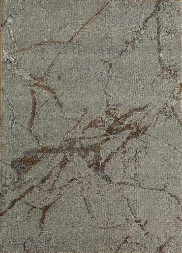 ELA-302 Classic Gray/Honey grey and black wool and silk hand knotted Rug