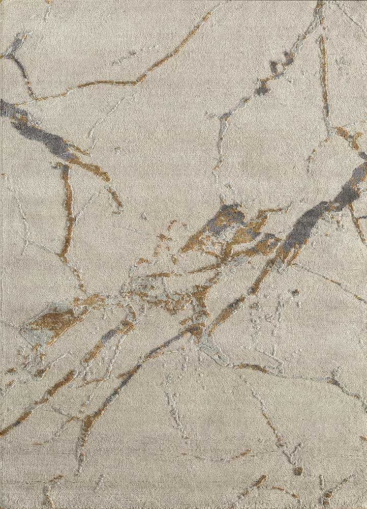 urban pause by kavi ivory wool and silk hand knotted Rug - HeadShot