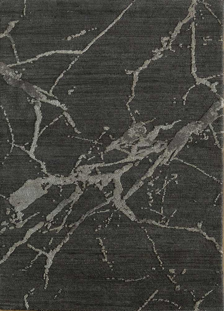 ELA-302 Slate Gray/BlueBell grey and black wool and silk hand knotted Rug