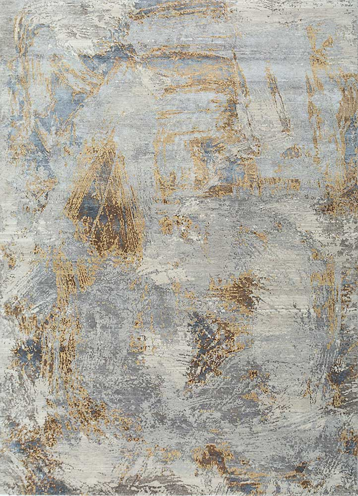 ELA-308 Ivory/Medium Gold ivory wool and silk hand knotted Rug