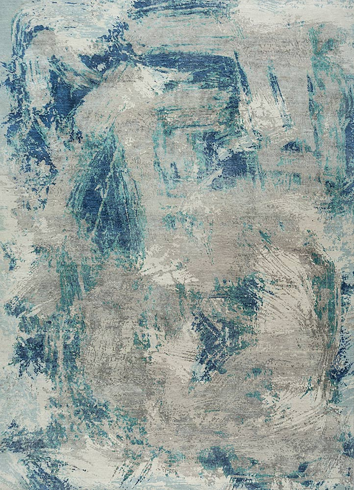 free verse by kavi ivory wool and silk hand knotted Rug - HeadShot