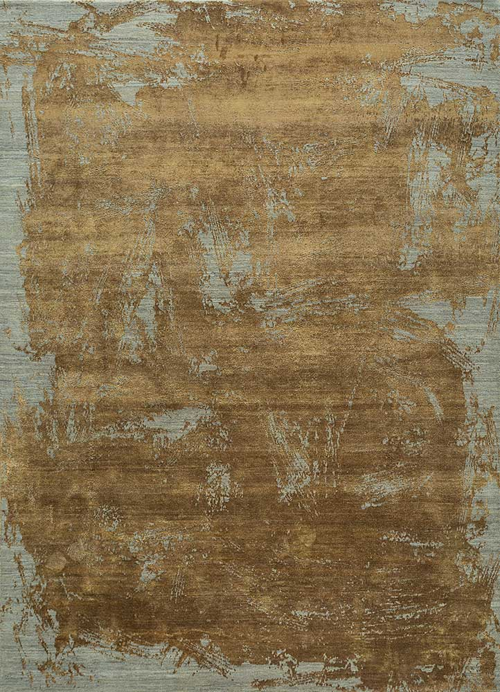 ELA-309 Silver Gray/Cumin beige and brown wool and silk hand knotted Rug