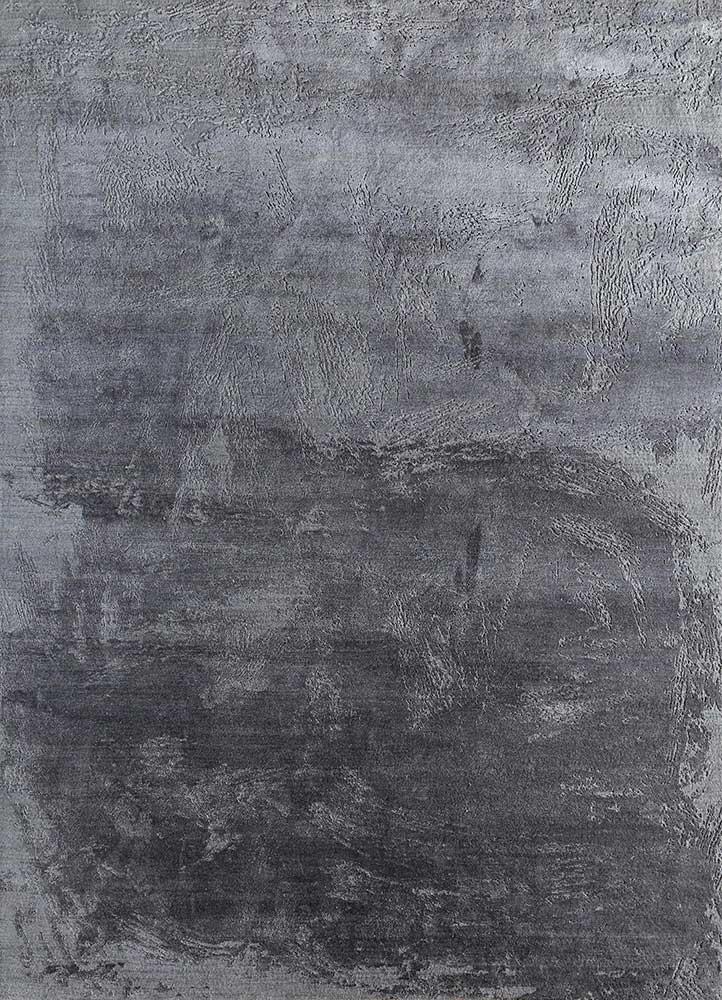 ELA-309 Medium Gray/Liquorice grey and black wool and silk hand knotted Rug