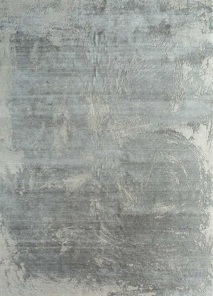 ELA-309 Antique White/Nickel ivory wool and silk hand knotted Rug