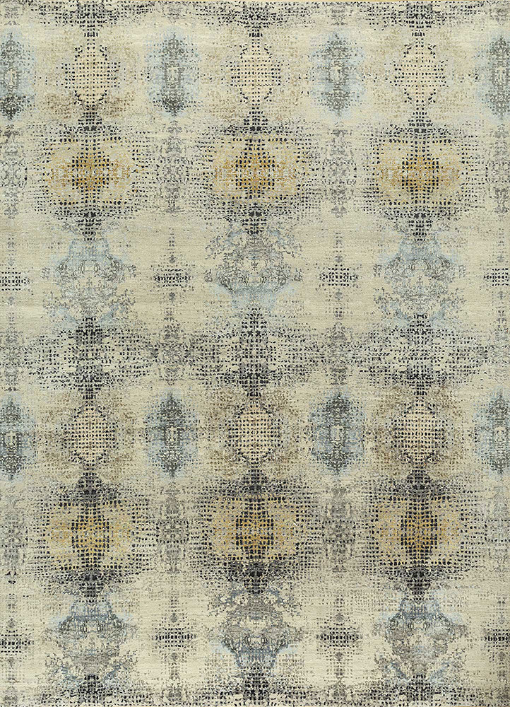 ELA-313 Antique White/Blue Blush ivory wool and silk hand knotted Rug