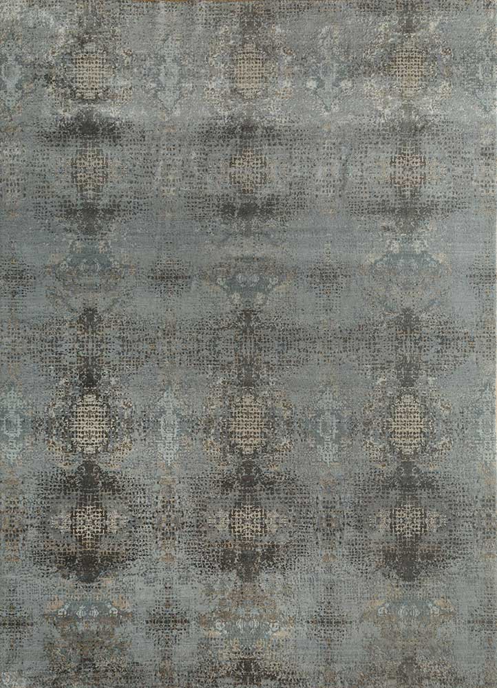 hidden by kavi blue wool and silk hand knotted Rug - HeadShot