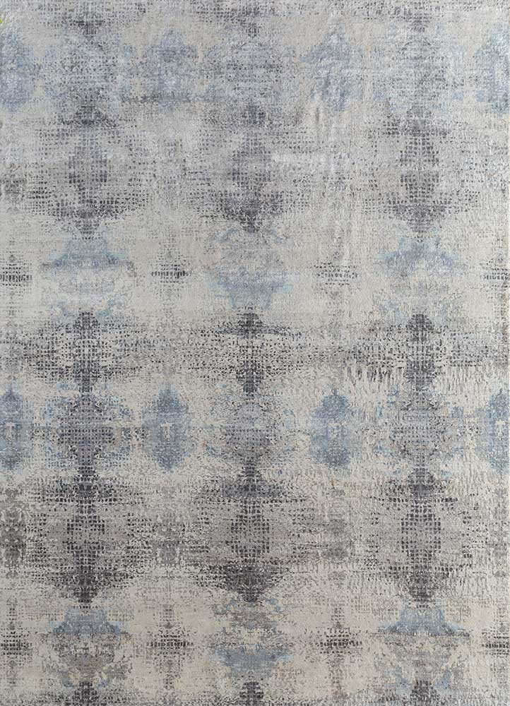 ELA-313 Antique White/Pearl Blue ivory wool and silk hand knotted Rug