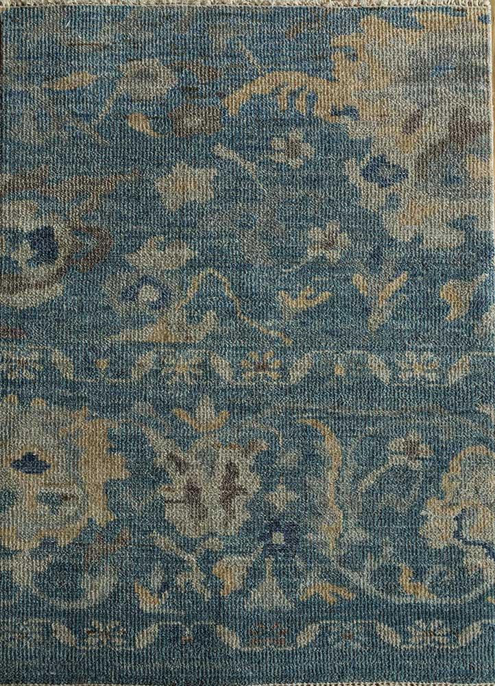 ENLP-03 Blue Print/Blue Print blue wool hand knotted Rug