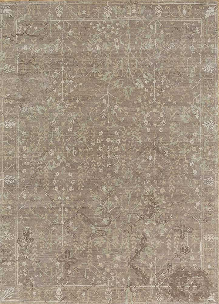 biscayne beige and brown wool and silk hand knotted Rug - HeadShot