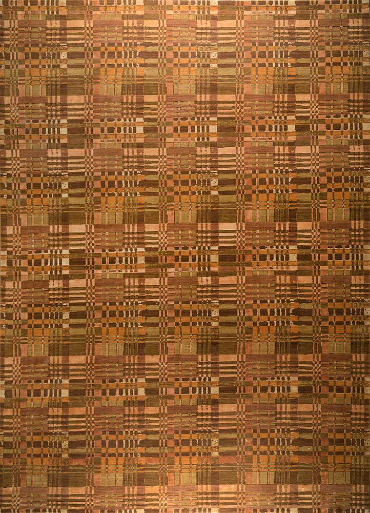 ENR-959 Ginger Brown/Pumpkin red and orange wool and silk hand knotted Rug