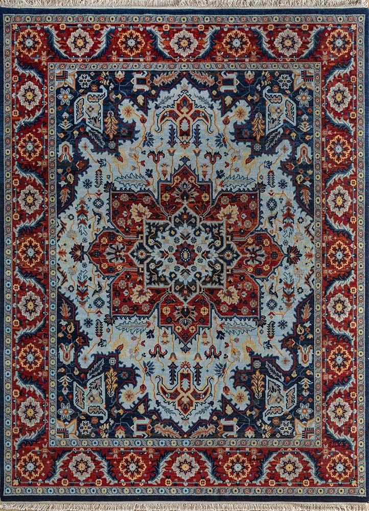 atlantis blue wool hand knotted Rug - HeadShot