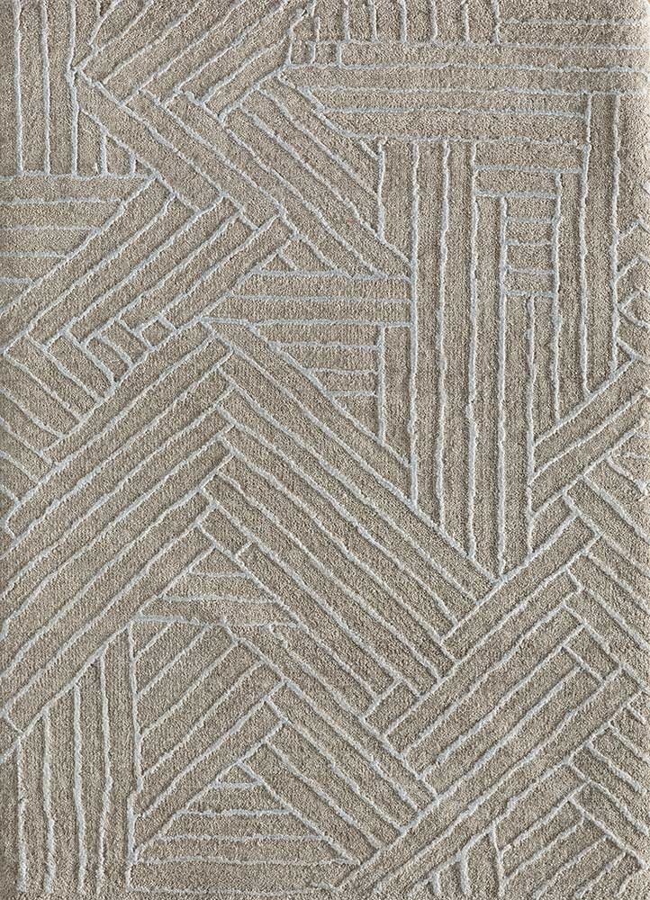 cleo ivory wool and bamboo silk hand knotted Rug - HeadShot