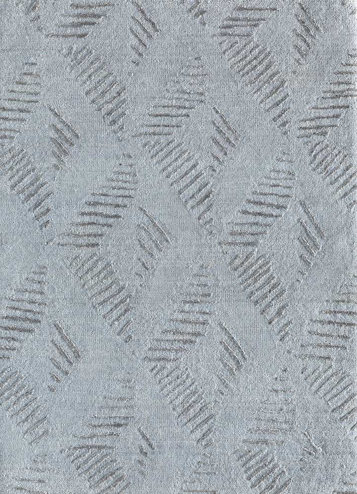 ESK-1501 Blue Blush/Nickel blue wool and bamboo silk hand knotted Rug