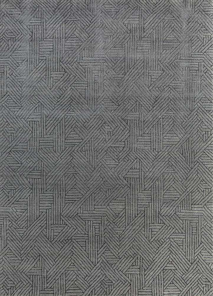 ESK-1501 Nickel/Black Olive grey and black wool and bamboo silk hand knotted Rug