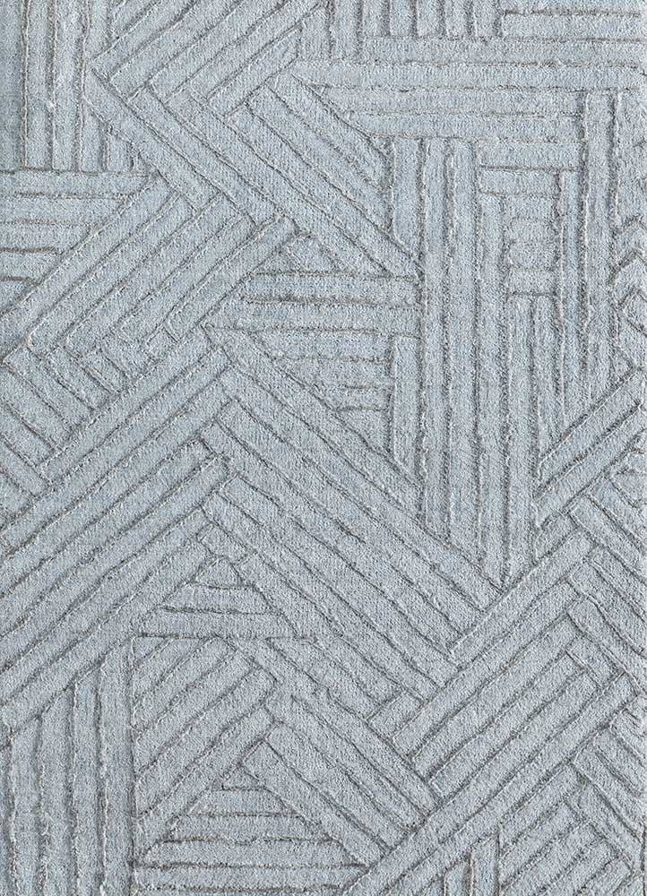 ESK-1502 Blue Blush/Nickel blue wool and bamboo silk hand knotted Rug