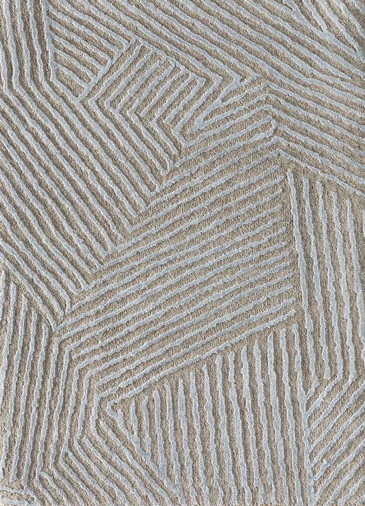 ESK-1505 Linen/BlueBell ivory wool and bamboo silk hand knotted Rug