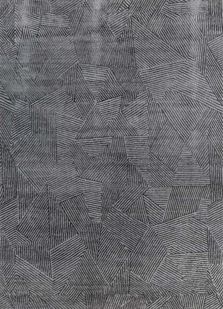 ESK-1505 Nickel/Black Olive grey and black wool and bamboo silk hand knotted Rug