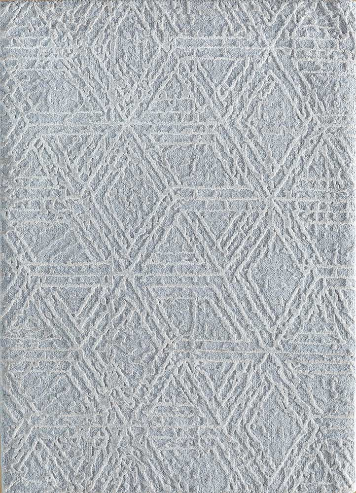 ESK-1506 Blue Blush/White blue wool and bamboo silk hand knotted Rug