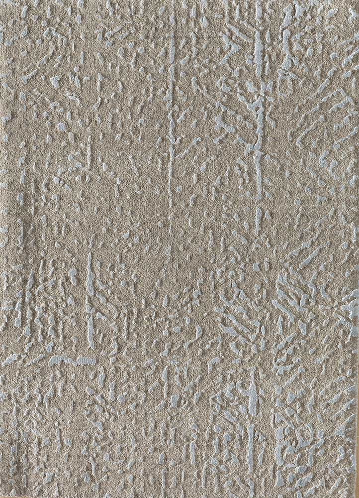 ESK-1507 Linen/BlueBell ivory wool and bamboo silk hand knotted Rug