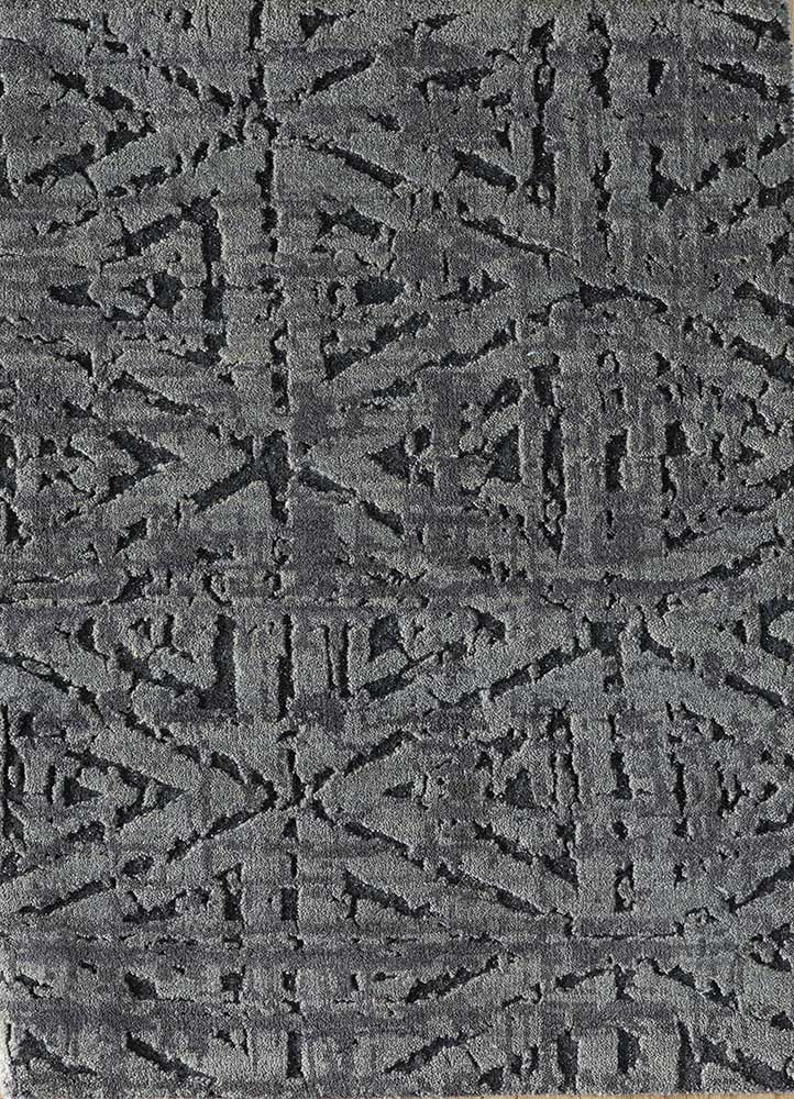 cleo grey and black wool and bamboo silk hand knotted Rug - HeadShot