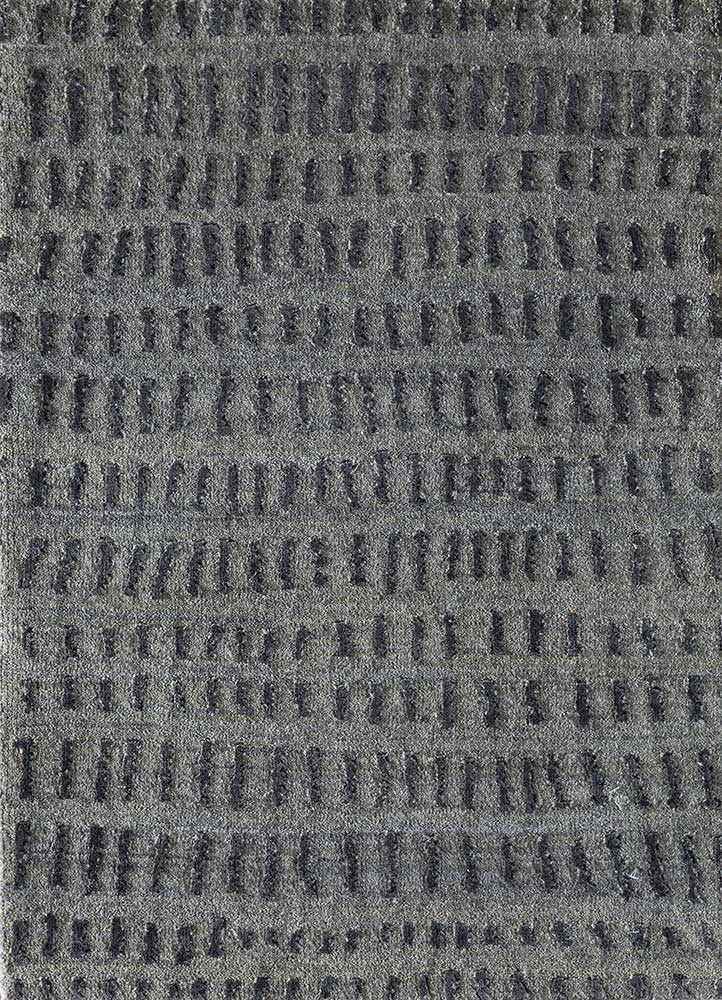 ESK-1509 Nickel/Black Olive grey and black wool and bamboo silk hand knotted Rug