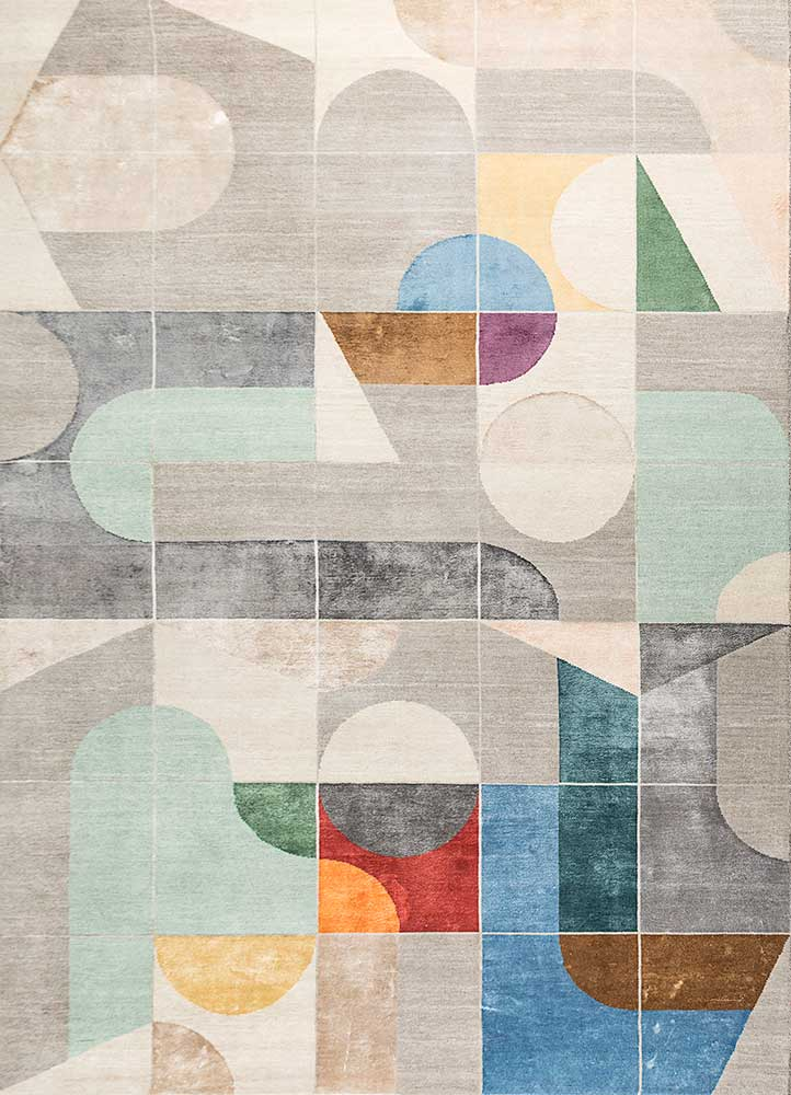 aakar by kavi grey and black wool and bamboo silk hand knotted Rug - HeadShot