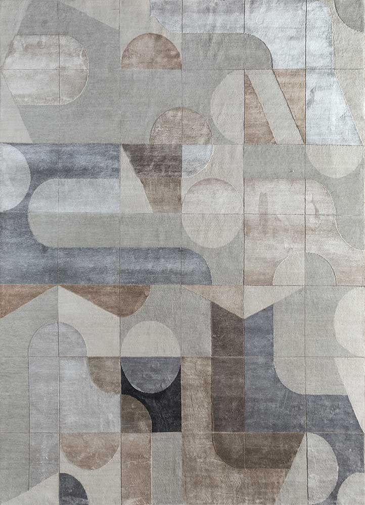ESK-306 Classic Gray/Black Berry grey and black wool and bamboo silk hand knotted Rug