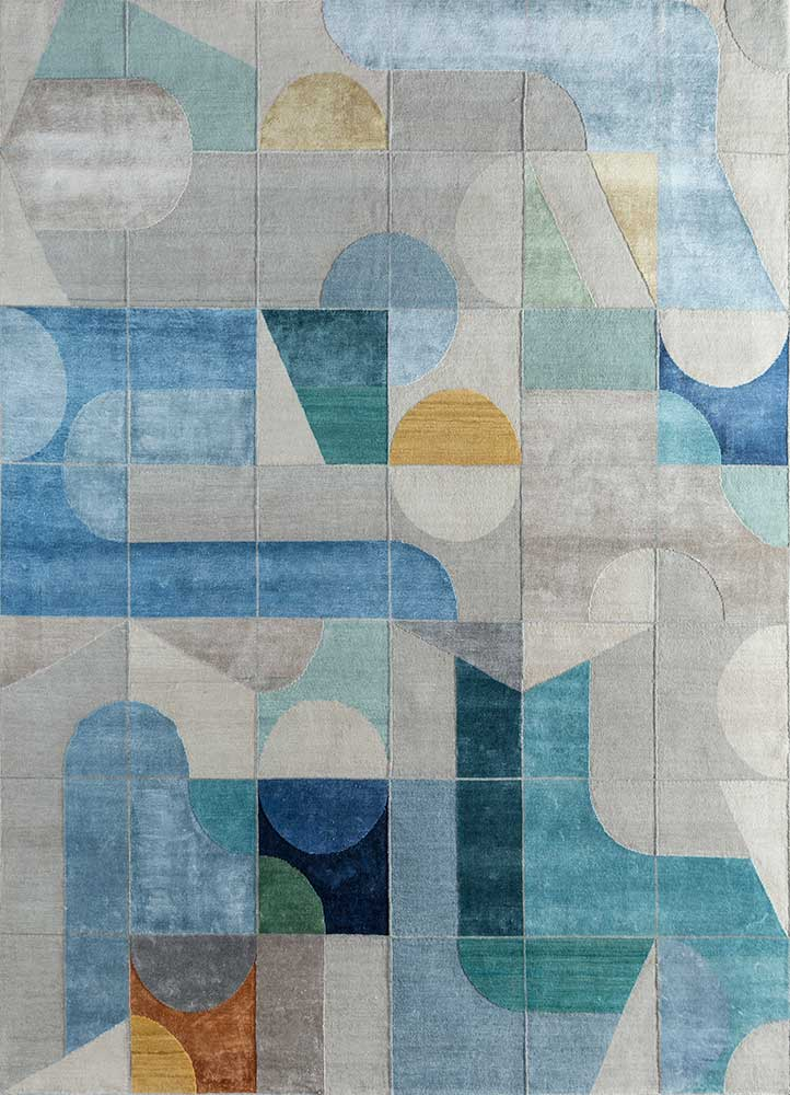 ESK-306 Classic Gray/Cool Aqua grey and black wool and bamboo silk hand knotted Rug