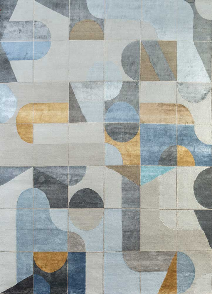 aakar by kavi ivory wool and bamboo silk hand knotted Rug - HeadShot