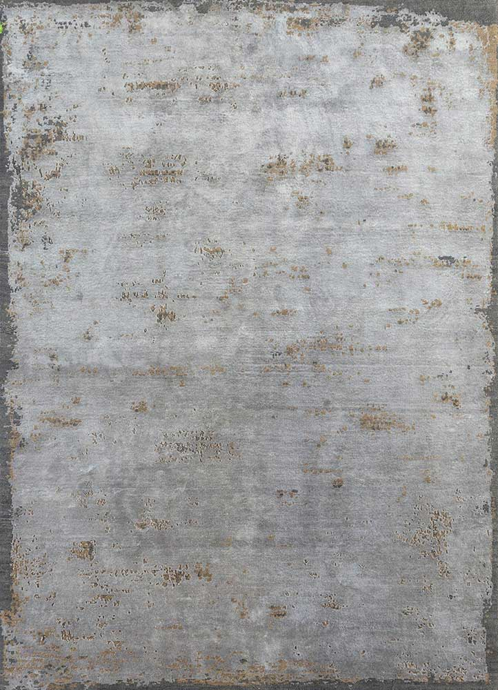 urban pause by kavi grey and black wool and bamboo silk hand knotted Rug - HeadShot