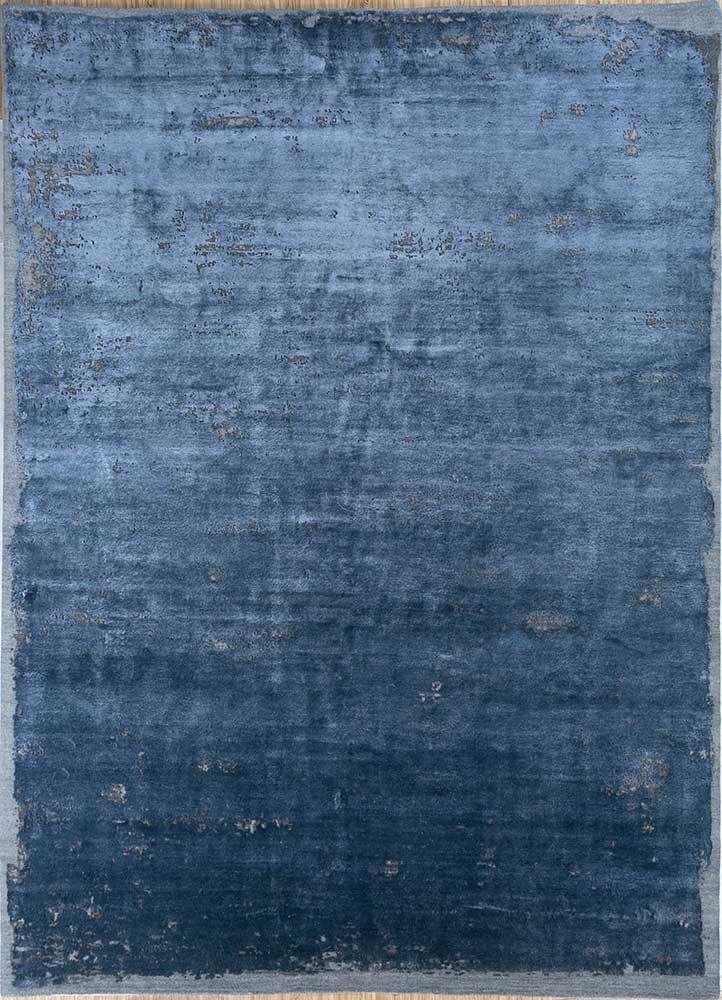 ESK-316 Indigo Blue/Medium Gray blue wool and bamboo silk hand knotted Rug