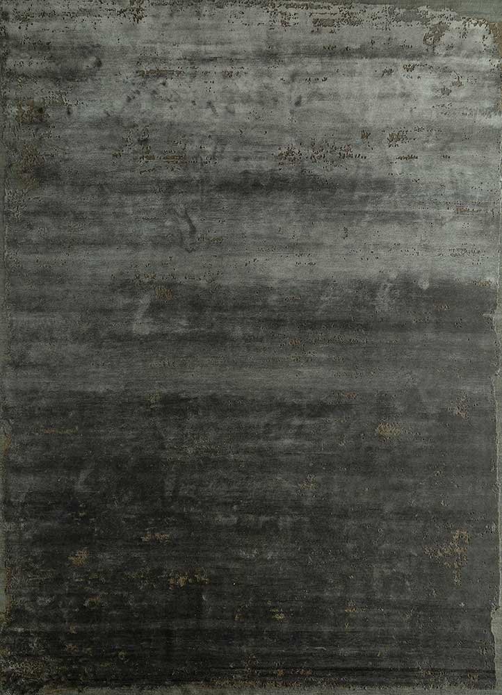 ESK-316 Liquorice/Medium Gray grey and black wool and bamboo silk hand knotted Rug