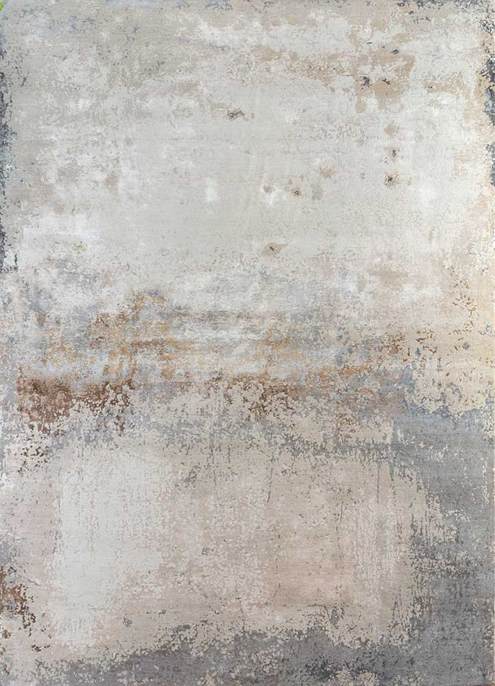 faulty blend by kavi ivory wool and bamboo silk hand knotted Rug - HeadShot