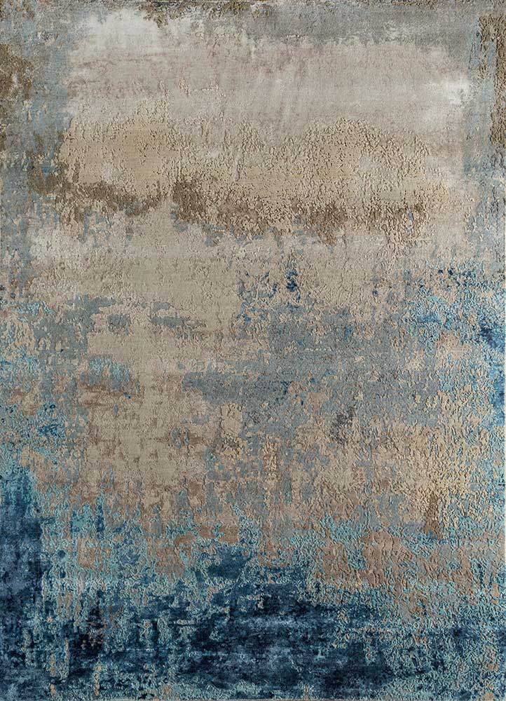 faulty blend by kavi ivory wool and viscose hand knotted Rug - HeadShot