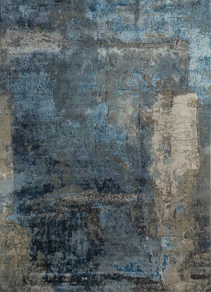 faulty blend by kavi grey and black wool and bamboo silk hand knotted Rug - HeadShot