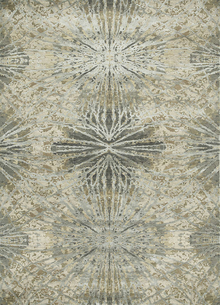 ESK-400 Antique White/Ashwood ivory wool and bamboo silk hand knotted Rug