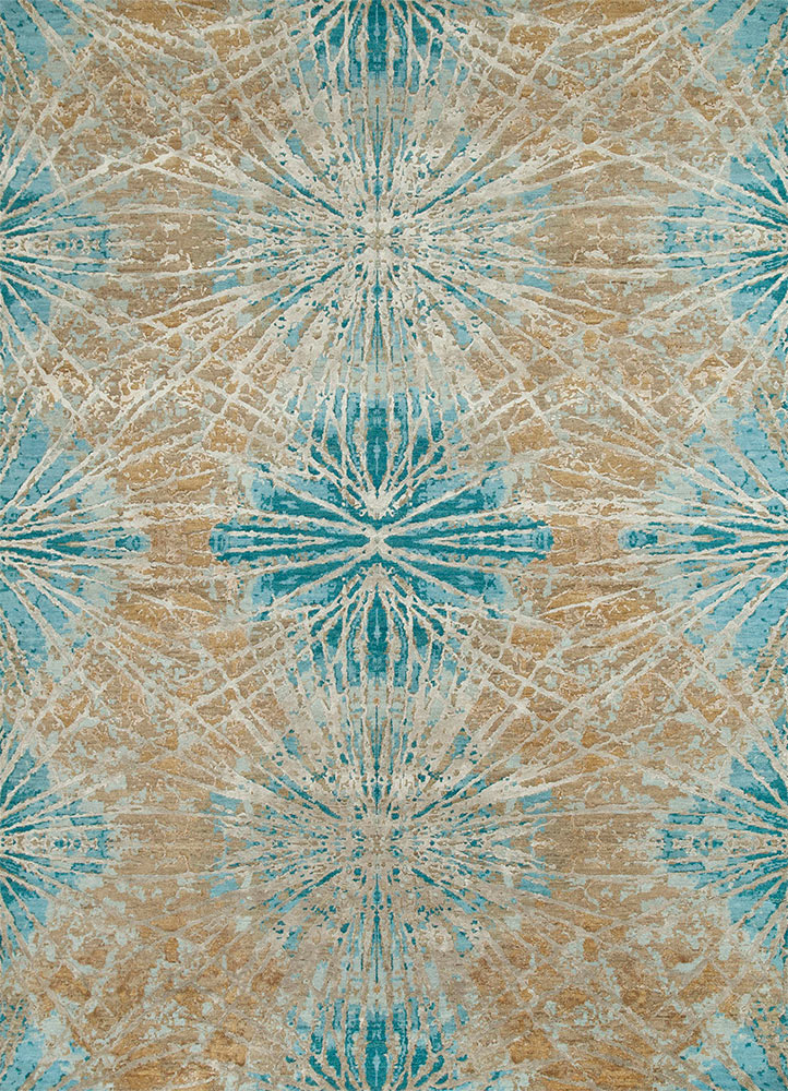 ESK-400 Mink/Light Turquoise beige and brown wool and bamboo silk hand knotted Rug