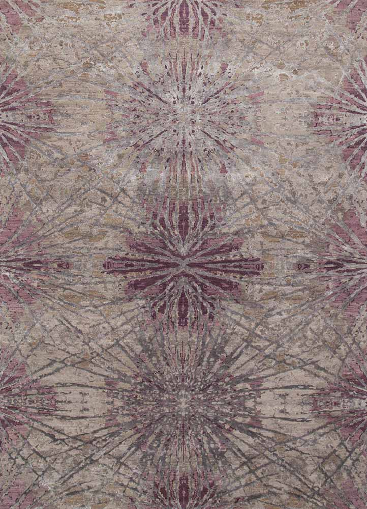 ESK-400 Ashwood/Mauve grey and black wool and bamboo silk hand knotted Rug