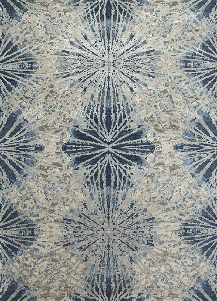 ESK-400 Classic Gray/Denim Blue grey and black wool and bamboo silk hand knotted Rug