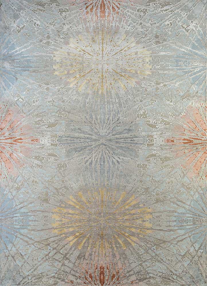ESK-400 Classic Gray/Caribbean Sky grey and black wool and bamboo silk hand knotted Rug