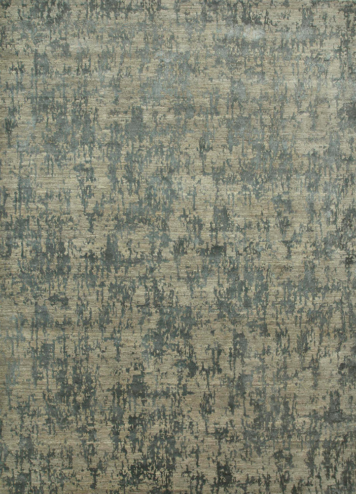 ESK-408 Light Blue/Stone Blue blue wool and bamboo silk hand knotted Rug