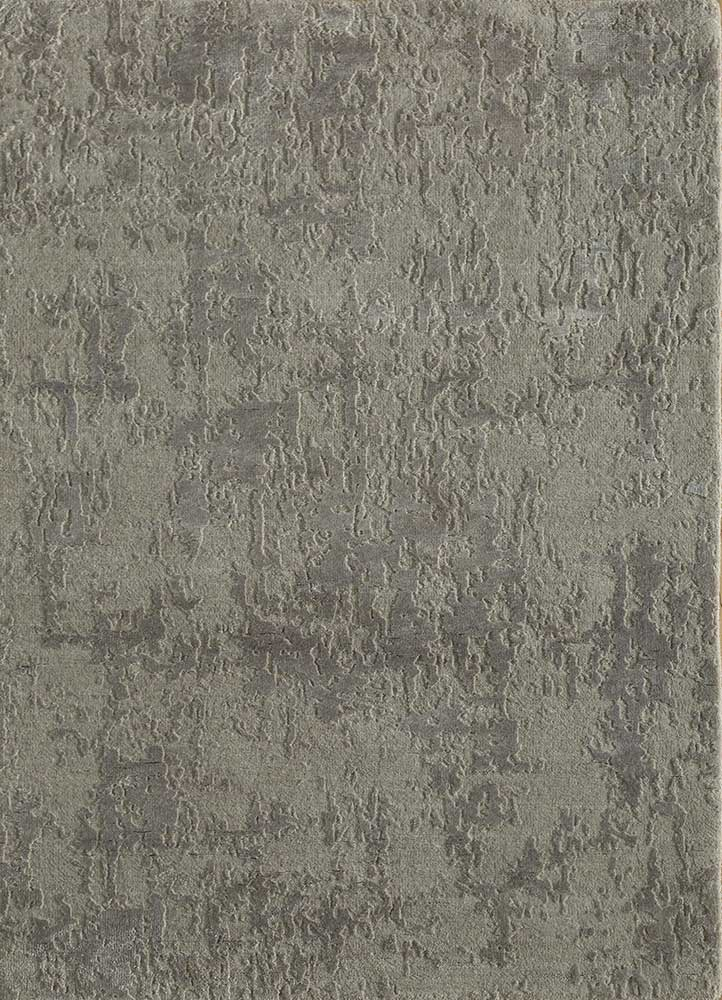 ESK-408 Classic Gray/Shale grey and black wool and bamboo silk hand knotted Rug